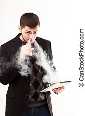 vaping, tablette, homme affaires