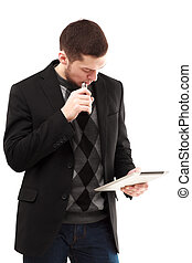 vaping, tablette, homme affaires