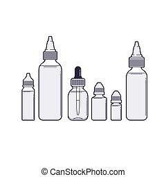 Vaping vector set. Vape juices outline on white background.