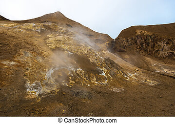 Vapor and sulfurous smoke coming from numerous fumaroles in Viti crater at Askja caldera. Central Highlands of Iceland