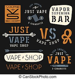 Vapor bar and vape shop labels. Color print on black ...