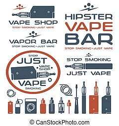 Vapor bar and vape shop logo and e-cigarette icons. Isolated...
