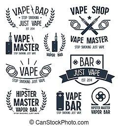 Vapor bar and vape shop logo and e-cigarette icons. Isolated...