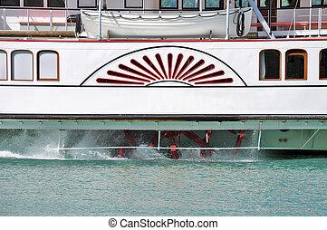 vapor, barco, rueda