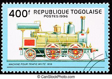 vapor, descripción, motor, tren, tenido, locomotive., ...