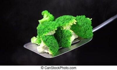 vapor., frais, végétarien, eau, sombre, brocoli, vert, dish...