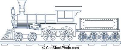 vapor, gravar, vetorial, trem, vindima, illustration.