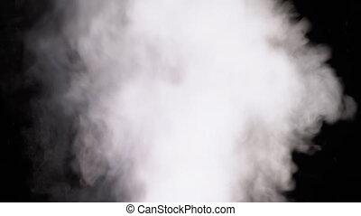 vapor., jet, lent, noir, arrière-plan., mouvement, blanc, ...