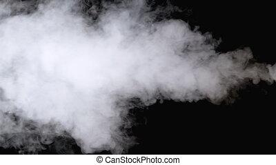 vapor., lent, jet, blanc, arrière-plan., vapeur eau, noir, ...