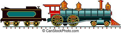 vapor, locomotiva, com, vagão