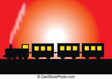 vapor, locomotiva, com, vagões
