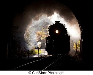 vapor, locomotiva, entra, túnel