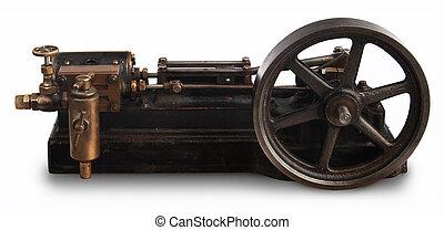 vapor, pistón, rueda