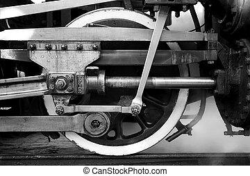 vapor, roda, locomotiva