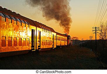 vapor, salida, tren