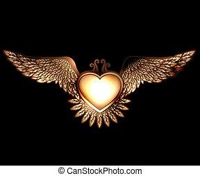 vapor, trocadilho, estilo, coração, com, asas