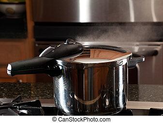 vapore, battersela, da, nuovo, pentola a pressione, vaso