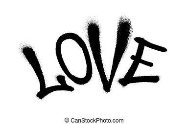 vaporisé, amour, illustration., overspray, sur, vecteur, graffiti, white., noir, police
