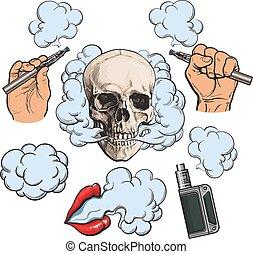 vaporizer, シンボル, -, e-cigarette, 喫煙, 関係した, 唇, 要素, vaping, 頭骨