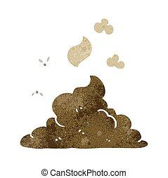 vaporizzazione, poop, mucchio, retro, cartone animato
