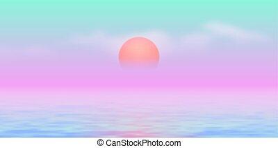 vaporwave, 90s, 太陽, 上に, 青, 色, ピンク, 海, スタイルを作られる, 道