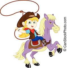 vaquera, jinete caballo