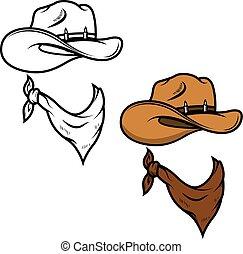 vaquero, aislado, ilustración, fondo., vector, pañuelo, sombrero, blanco