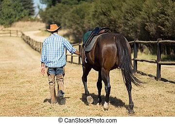 vaquero, ambulante, con, el suyo, caballo