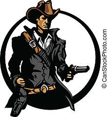 vaquero, apuntar, silueta, armas de fuego, mascota
