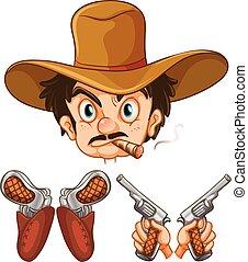 vaquero, cabeza y, dos, pares, de, armas de fuego