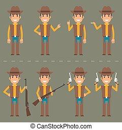 vaquero, carácter, en, vario, posturas