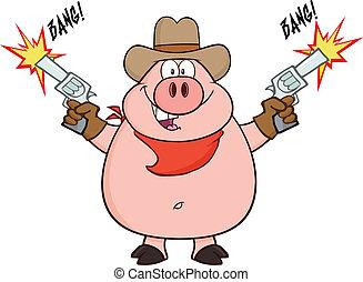 vaquero, cerdo, con, dos, armas de fuego