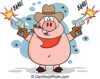 vaquero, cerdo, disparando, con, dos, armas de fuego