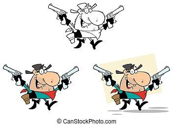 vaquero, con, dos, guns., colección