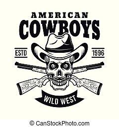 vaquero, cráneo, en, sombrero, y, dos, rifles, vector, emblema