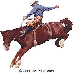 vaquero, en, el, rodeo.