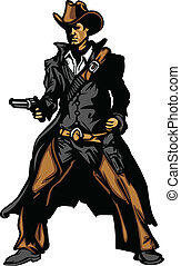 vaquero, enfermo, arma de fuego, vector, apuntar, mascota