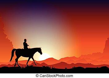 vaquero, equitación, un, caballo, en, el, anochecer