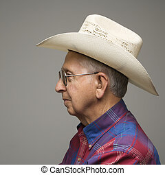 vaquero, hombre, hat.