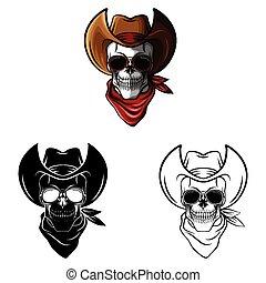 vaquero, libro colorear, cráneo, caracter