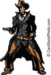 vaquero, mascota, apuntar, arma de fuego, vector, enfermo
