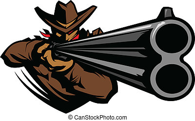 vaquero, mascota, apuntar, escopeta, vector