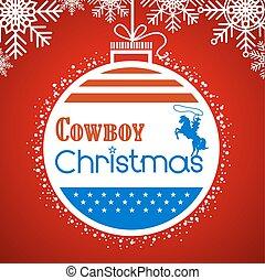 vaquero, norteamericano, decoración, bandera, plano de fondo, tarjeta de navidad