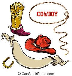 vaquero, norteamericano, objetos