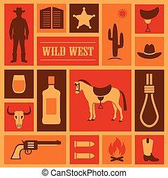 vaquero, occidental, ilustración
