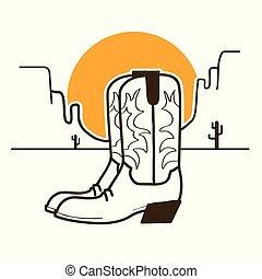 vaquero, oeste, ilustración, norteamericano, botas, sol, salvaje, desierto