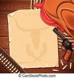 vaquero, oeste, revólver, plano de fondo, salvaje, sombrero