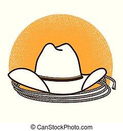 vaquero, oeste, símbolo, ilustración, occidental, salvaje, sombrero