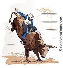 vaquero, paseo a caballo de bull