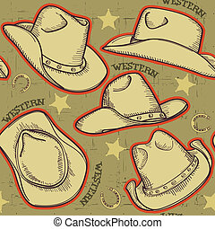 vaquero, patrón, sombreros, seamless, ilustración,...